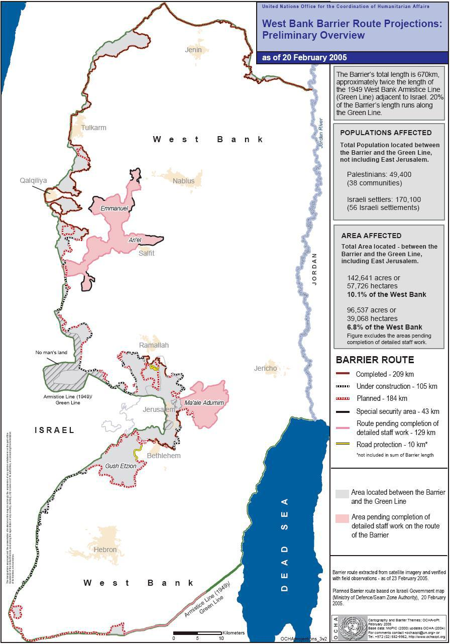 ICJIsrael Separation WallSecurity Fence In The Occupied - Geneva convention map