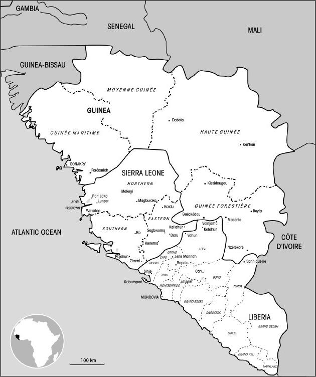 Map of Sierra Leone, Liberia and Guinea